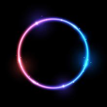 Bright Neon Circle On Black Ba...