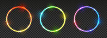 Set Of Bright Neon Circles Wit...