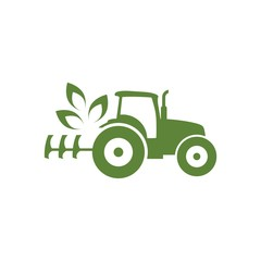 Agriculture and farming icon with a tractor. Ecology Tractor logo
