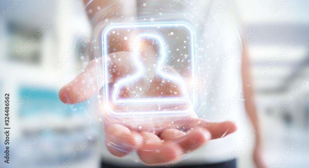 Fototapeta Man using digital blue holographic user interface 3D rendering