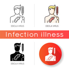 Ebola Virus Icon. Linear Black And RGB Color Styles. Dangerous Viral Disease, Deadly Infectious Illness, Fatal Sickness. Medical Diagnosis. Person With EVD Symptoms. Isolated Vector Illustrations