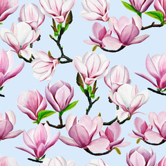 pattern. pink magnolia drawing. Hand-drawn magnolias in gouache. spring flowers on a branch. spring flowering gardens. design of cards, invitation.