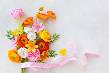 Holiday Concept With Bouquet Of Spring Flowers On Pastel Vintage Background. Easter Composition