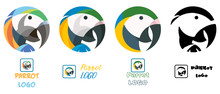 Parrot, Macaw Colorful Vector Set Of Logotypes, Four Logo Illustrations Of An Exotic Bird