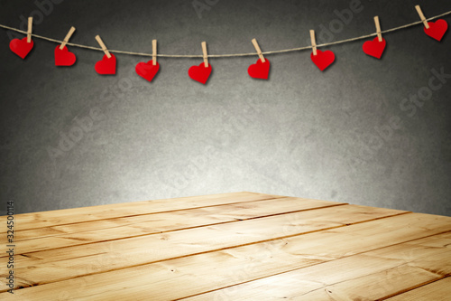 Desk of free space and spring blurred background Canvas Print