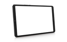 Black Tablet Computer With Blank Screen, Isolated On White Background