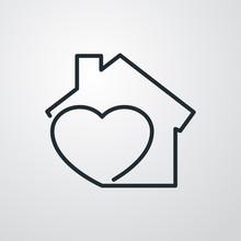 Símbolo Agencia Inmobiliaria. Icono Plano Lineal Corazón Con Casa En Fondo Gris