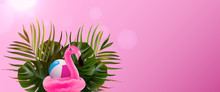 Tropical Island. Flamingo Banner. Flower And Palm Wallpaper. Vector Jungle Illustration. Colorful Tropical Bird