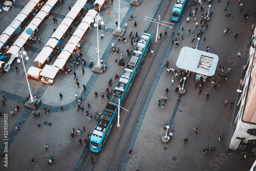 Top view of Ban Jelacic Square in Zagreb , Croatia