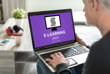 E-learning Concept On A Laptop...