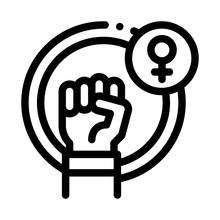 Fist Female Mark Icon Vector. ...