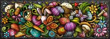 Happy Easter Hand Drawn Cartoo...