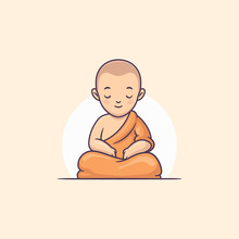 Young Buddhist Monk Meditating...