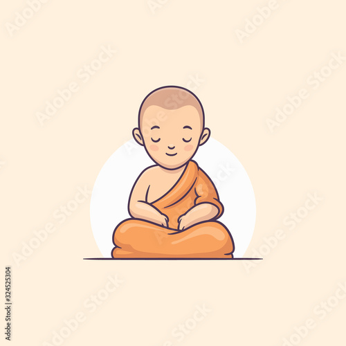 Photo Young buddhist monk meditating vector cartoon illustration