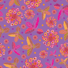 Lantana Festival -Flowers In Bloom Seamless Repeat Pattern. Vibrant Abstract Lantana And Mint Leaves Pattern Background In Purple,pink,orange, Yellow And Maroon. Surface Pattern Design. Perfect For Fa