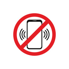 Warning Sign Switch Off Phone. Vector Icons