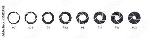 Aperture icon set. Camera lens diaphragm. Camera shutter icons. Wallpaper Mural