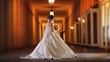 canvas print picture - beautiful bride with flowers in a wedding dress in the evening at celebration
