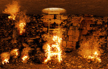 Dante's Hell, Dark Cavern Burning With Flames With A Ladder To Climb To Heaven, Angels And Demons, Conceptual, 3d Rendering, 3d Illustration