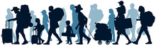 Moving People. Crowd Human Emigration. Silhouette Vector Illustration