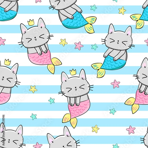 Mermaid cats. Children's textile design. Vector illustration. Pattern seamless.