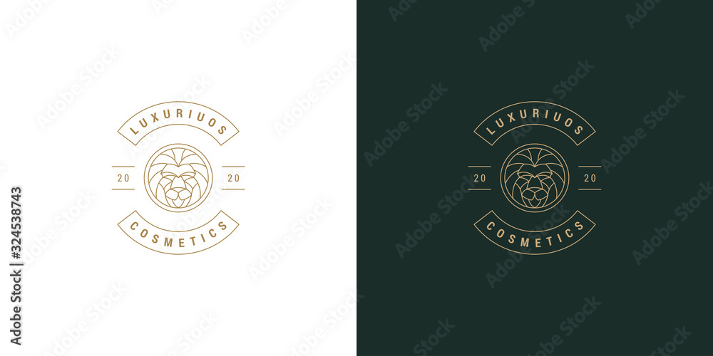 Fototapeta Lion head line symbol vector logo emblem design template illustration simple minimal linear style