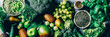 Leinwandbild Motiv Variety of Green Vegetables and Fruits on the grey background, banner size