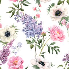 Naklejka Kwiaty Beautiful seamless floral pattern with watercolor anemones, lilac and peony flowers. Stock illustration.