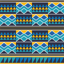 African Tribal Kente Mud Cloth Style Vector Seamless Textile Pattern, Traditional Geometric Nwentoma Design From Ghana In Blue And Yellow