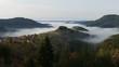 Nature beauty mountain Rodopi Bulgaria. A thick fog like a sea.