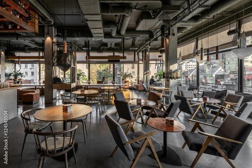 Fototapeta Interior of modern cafe in loft style obraz