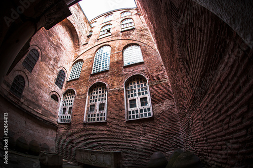 Foto Interior view from Hagia Sophia Corridors with fish eye wide angle lens