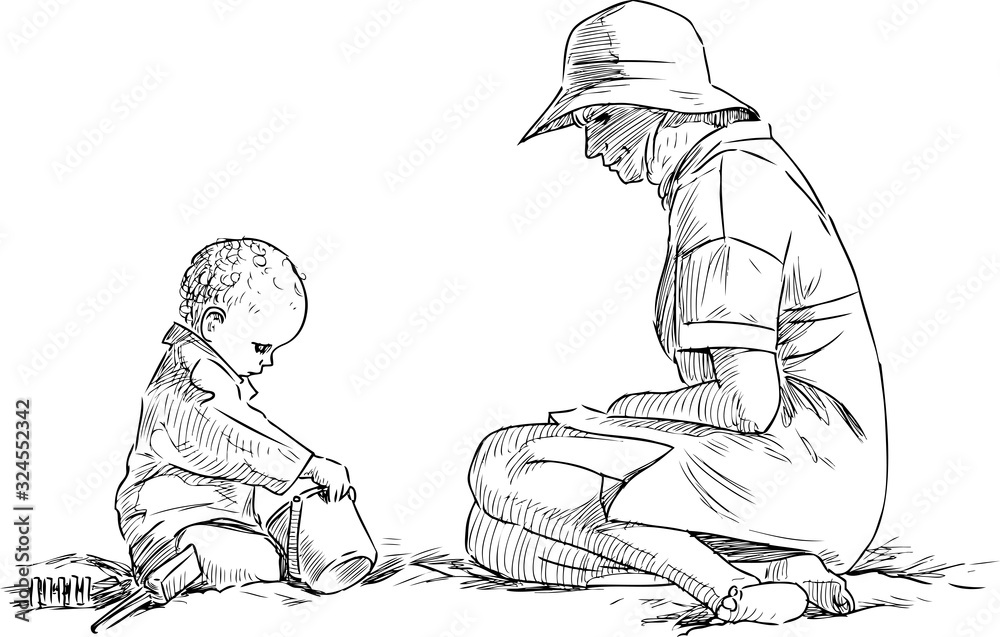 Fototapeta Sketch of mother with her baby sitting on sandy beach by the sea