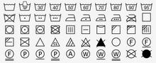 Washing Symbols Set. Laundry Icons. Vector