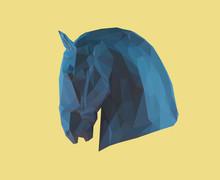 Blue Horse Profile On Yellow B...