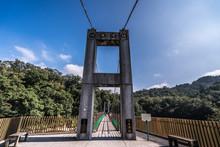 Shifen, Pingxi, Taiwan- January 11, 2020: Jingan Suspension Bridge Near Shihfen Waterfall, Pingxi District, Taiwan. Shifen Is A Small Town About An Hour Away From Taipei.