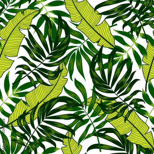 Fototapety, obrazy: Trend seamless pattern. Tropical leaves and plants on white background. Illustration in Hawaiian style. Jungle leaves. Botanical pattern. Vector background for various surface. Exotic wallpaper.
