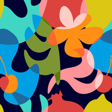 Seamless Pattern With Abstract Overlapping Shapes.