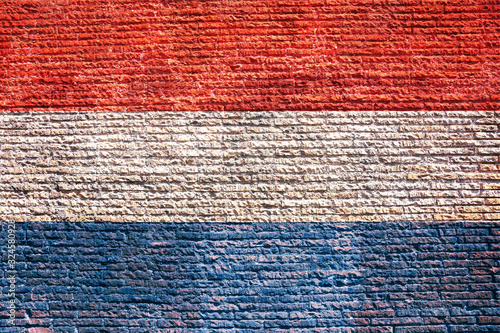 Canvas Print Netherlands dutch flag painted on a walll, background, texture.