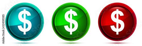 Fényképezés Dollar sign icon elegant round button set illustration