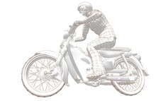 Motorcyclist Sketch Linear Gr...