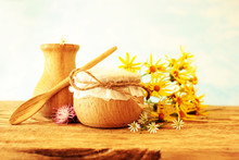 Traditional Medicine Recipes, Field Herbs In Wooden Containers, The Concept Of Natural Medicines
