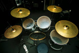 Percussion musical instrument top view.Drums