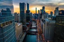 Chicago Skyline & River Sunris...