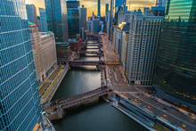Chicago Skyline & River Sunris...