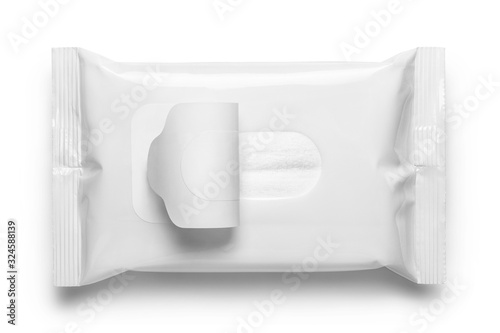 Blank wet wipes flow pack, isolated on white background Fototapete
