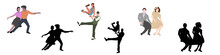 Set Dancing Couples Silhouette...
