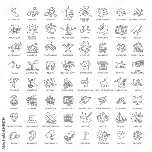 Fototapeta Hobbies and interest detailed line icons set in modern line icon style obraz