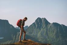 Man Hiking In Mountains Travel...