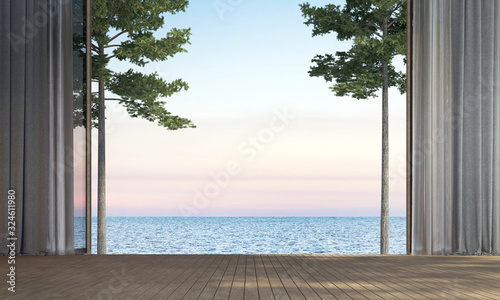 Fotomural Modern empty living room interior design and sea view background
